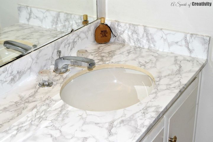 Master Bathroom Faux Marble Makeover In The Home Hometalk - Faux marble bathroom countertops for bathroom decor ideas