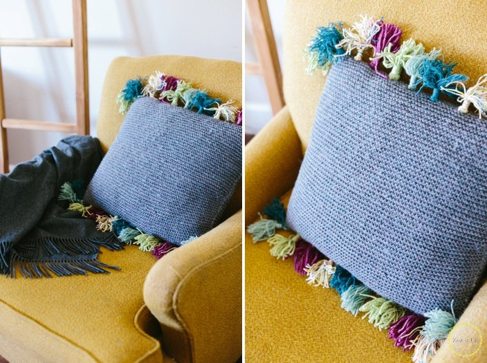 anthropologie inspired tassel pillow, crafts, how to, reupholster