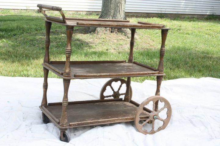 repurposed vintage tea cart makeover, bathroom ideas, chalk paint, painted furniture, repurposing upcycling