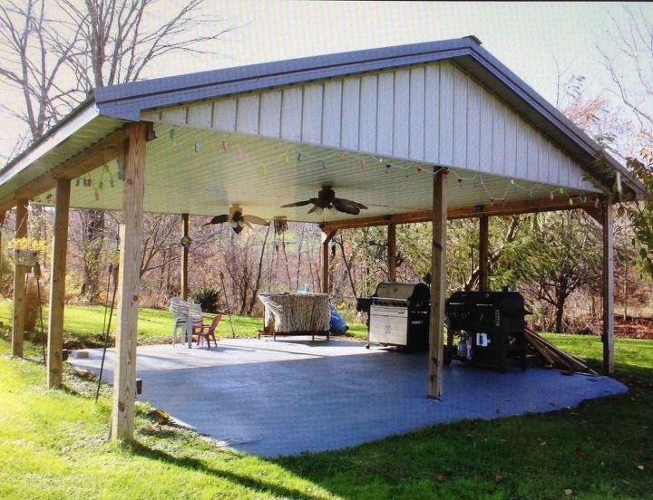 q ideas for a covered outdoor shelter area, concrete masonry, decks, flooring, outdoor living