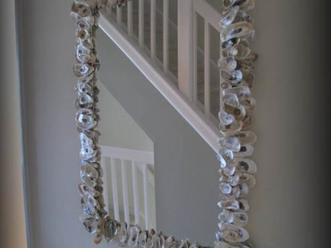 diy oyster shell mirror, crafts, home decor, how to, repurposing upcycling