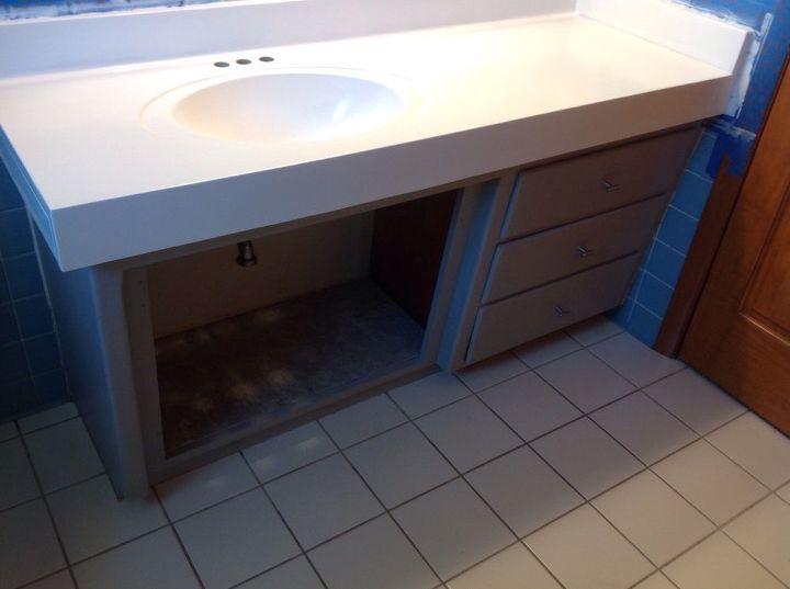 updating 60 s bathroom vanity, bathroom ideas, countertops