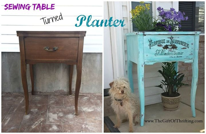 sewing table turned planter, container gardening, gardening, porches, repurposing upcycling