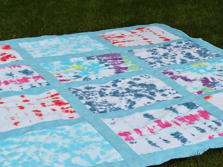 tie dyed t shirt quilt picnic blanket, crafts, how to, outdoor living, repurposing upcycling