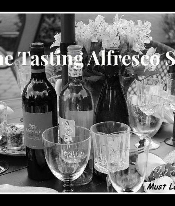 wine tasting alfresco tablescape, outdoor living