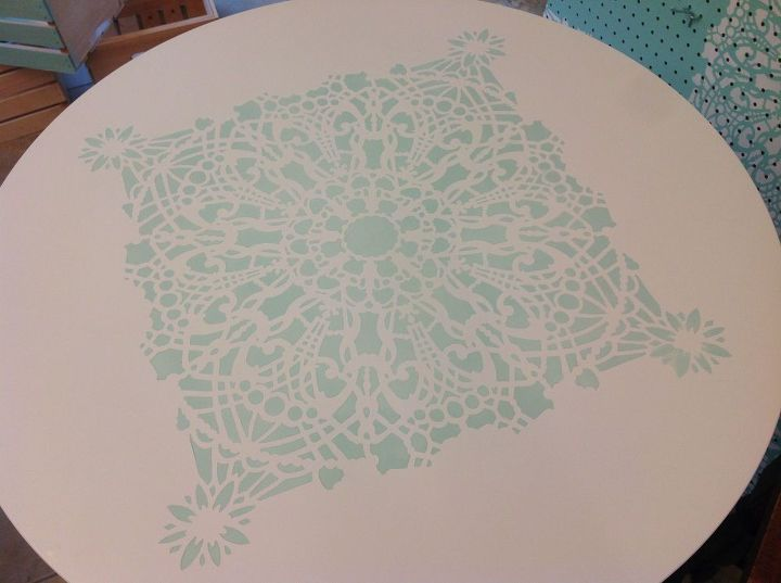 Stencil #1 - Almost covered the whole table