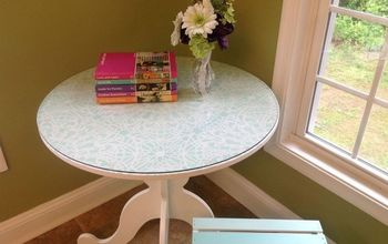 a little ikea table gets a big makeover ces stephanie s lace allover, chalk paint, painted furniture