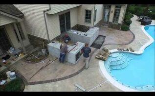 outdoor kitchen in progress, kitchen design, outdoor living