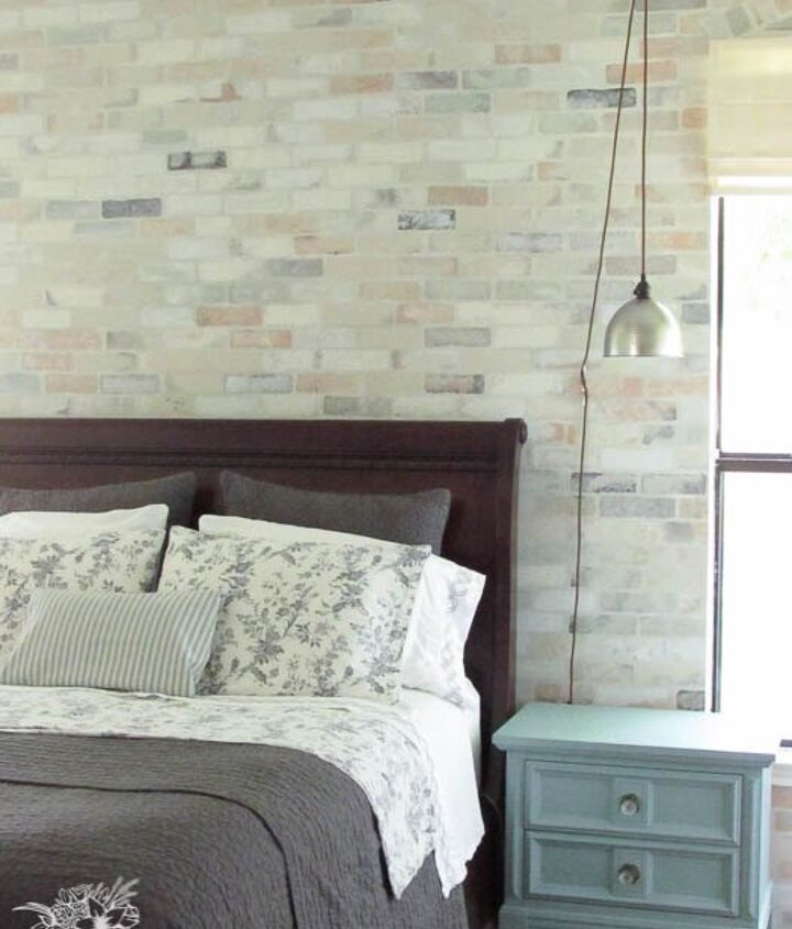 faux brick stencil feature wall, chalk paint, concrete masonry, painting, wall decor
