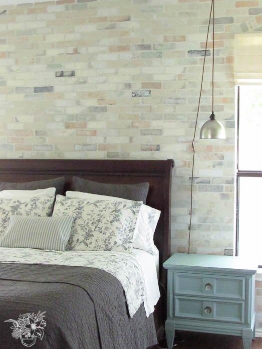 faux brick stencil feature wall, chalk paint, concrete masonry, painting, wall decor