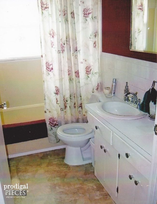 Budget friendly farmhouse bathroom remodel reveal hometalk for Farmhouse bathroom tile design ideas