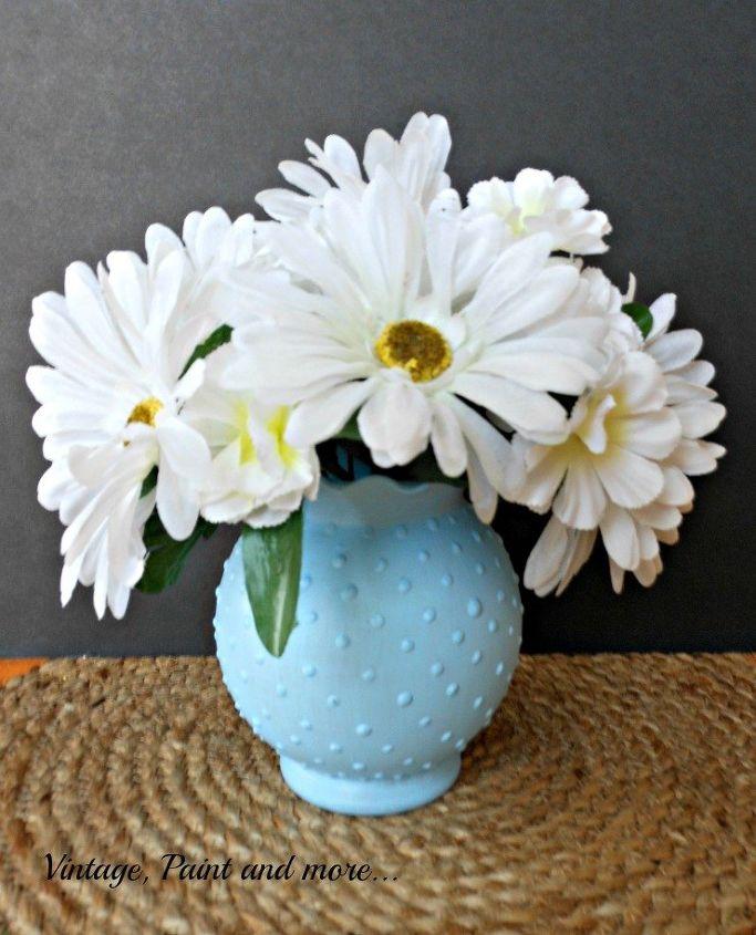 DIY Blue Hobnail Glass Vase