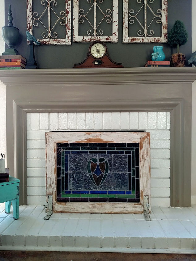 from stain glass to fireplace screen, chalk paint, fireplaces mantels, repurposing upcycling, windows