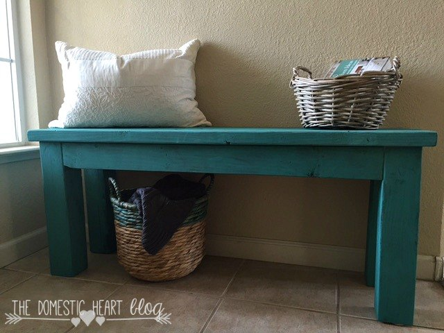 diy turquoise entry bench, diy, outdoor furniture, painted furniture, woodworking projects