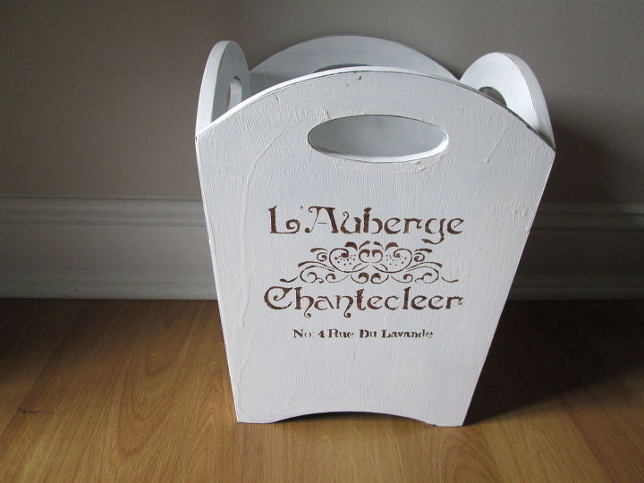 chalk painted french stenciled waste basket, chalk paint, crafts, repurposing upcycling, shabby chic