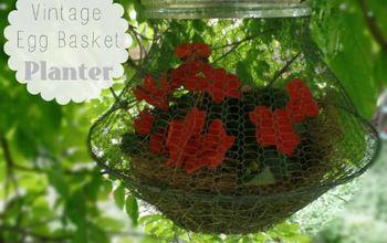 vintage egg basket hanging planter, container gardening, crafts, gardening, repurposing upcycling