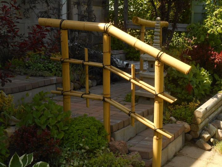 diy bamboo railing and fence, diy, fences, outdoor living, stairs