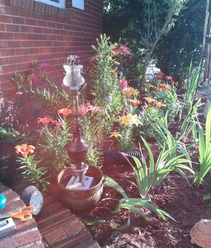 old lamps to classic fountain, gardening, lighting, ponds water features, repurposing upcycling