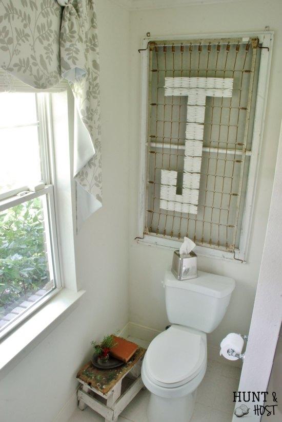 repurposed crib frame to bathroom wall decor, bathroom ideas, repurposing upcycling, shabby chic, wall decor