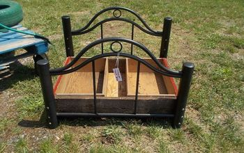 repurposed head and foot board to flower bed, container gardening, gardening, raised garden beds, repurposing upcycling