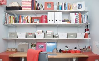 home office makeover in coral and blue, chalk paint, home office, organizing, painted furniture