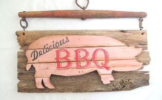 piggy pork bbq sign diy, how to, pallet, repurposing upcycling, wall decor
