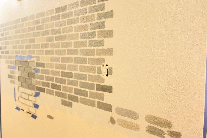 A DIY Stenciled Brick Hallway Accent Wall | Hometalk