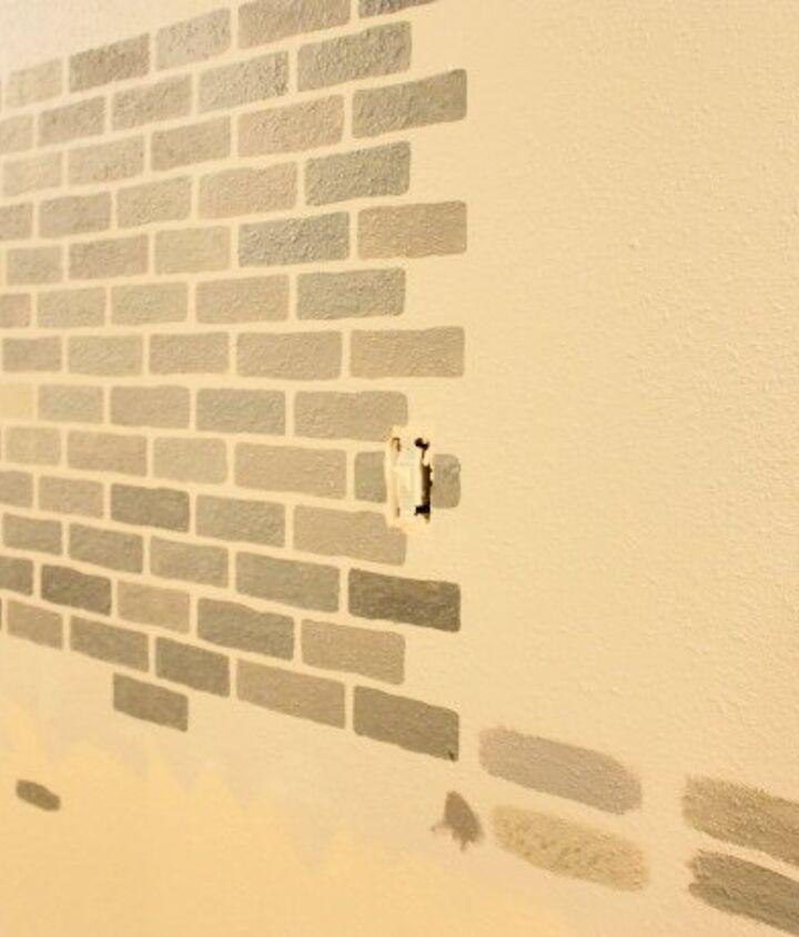 a diy stenciled brick hallway accent wall, foyer, painting, wall decor