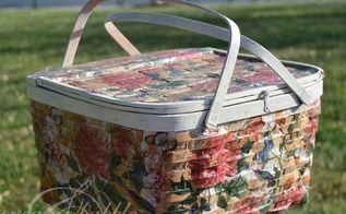 decoupaged picnic basket, crafts, decoupage, how to