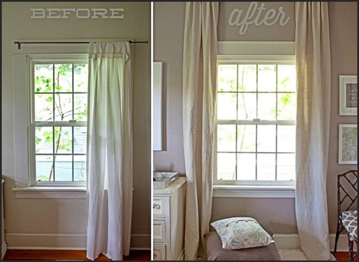 Curtain Rod Height Window Treatments Windows Before After