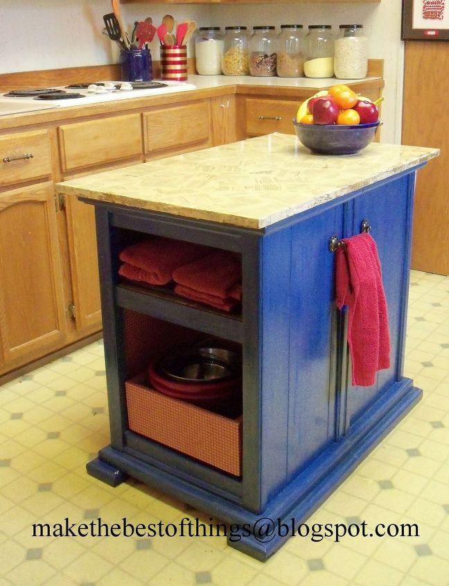 turn nightstands into a kitchen island, kitchen design, kitchen island,  painted furniture,