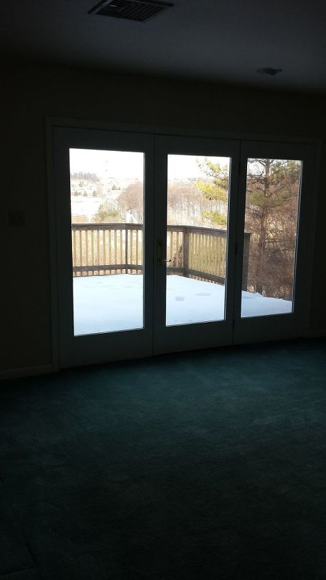 q how to add stylish room darkening privacy for the bedroom window door, bedroom ideas, window treatments, windows, Here is what the windows door looks like naked It shows on to the deck off of our room