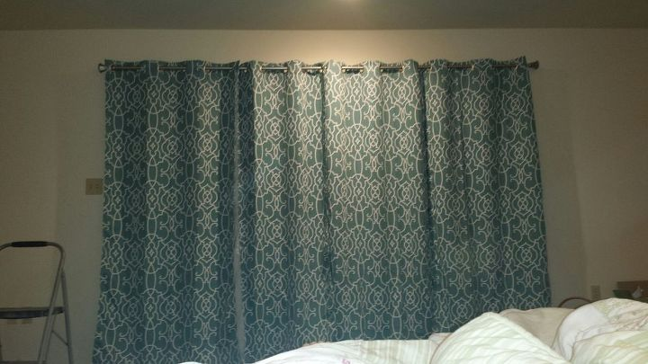 q how to add stylish room darkening privacy for the bedroom window door, bedroom ideas, window treatments, windows, Here is a picture of the curtains right after we hung them up before my mom sewed two panels together on either side