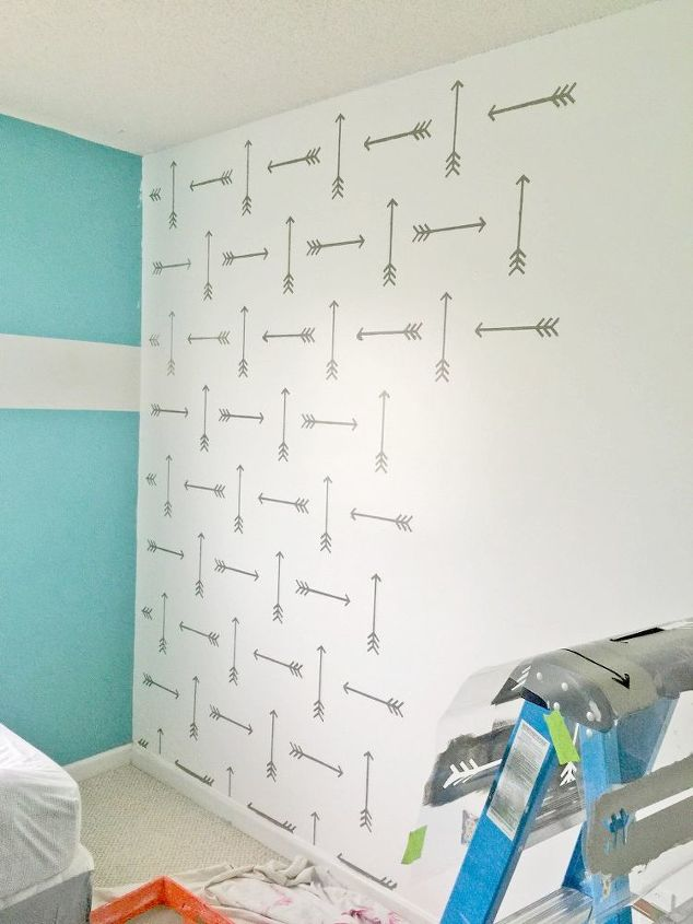 a tribal arrows stenciled boys bedroom, bedroom ideas, painting, wall decor