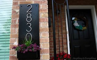 diy address plaque planter box, container gardening, curb appeal, gardening, woodworking projects