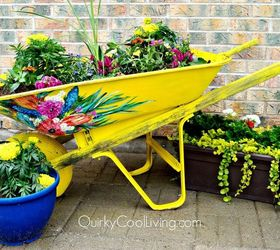 Upcyced Wheelbarrow For The Garden, Container Gardening, Gardening,  Repurposing Upcycling