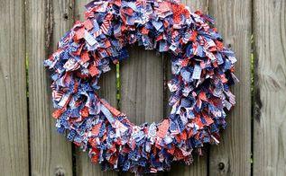 patriotic rag wreath, crafts, how to, patriotic decor ideas, repurposing upcycling, seasonal holiday decor, wreaths