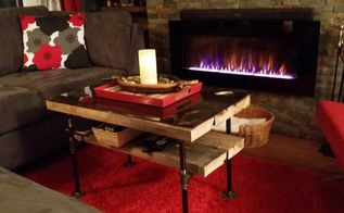 living room and mantle makeover, diy, fireplaces mantels, how to, living room ideas, Industrial Pipe Coffee Table