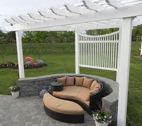 Lovely Pergola On A Curved Patio, Outdoor Living, Patio