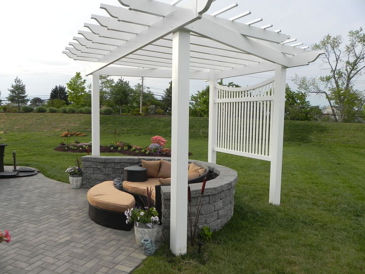 pergola on a curved patio, outdoor living, patio - Adding A Pergola To A Curved Patio Hometalk