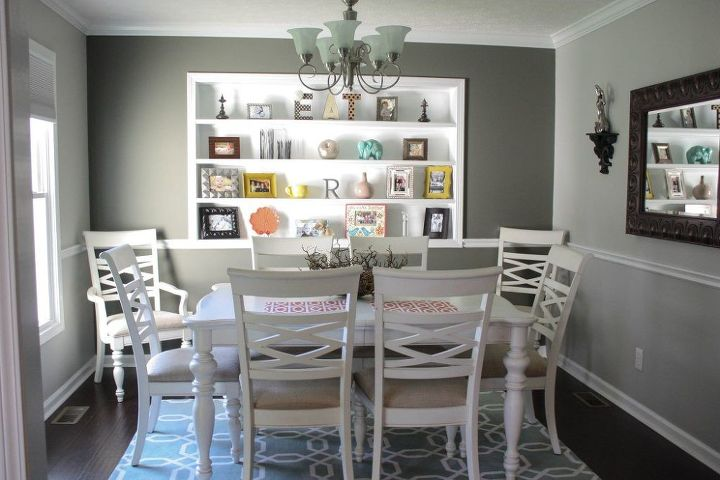 Complete Dining Room Makeover Ideas Paint Colors Shelving Wall