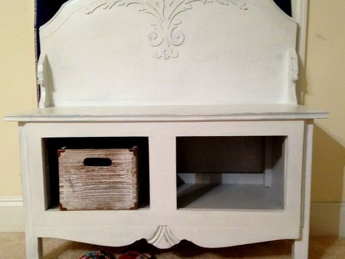 hall bench from leftovers, outdoor furniture, painted furniture, repurposing upcycling