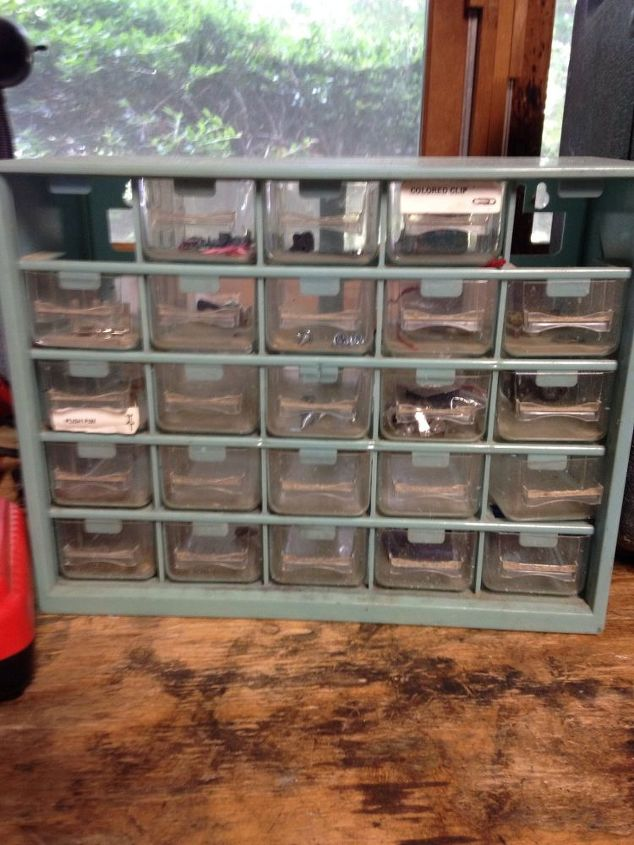 small tool bins to bead storage, chalk paint, decoupage, painting, repurposing upcycling, storage ideas