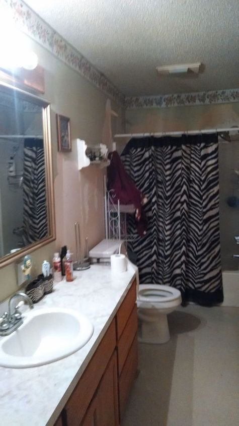 small bathroom remodel with concrete counter top, bathroom ideas, concrete masonry, concrete countertops, home improvement