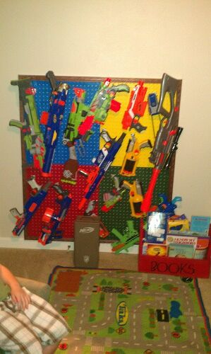 Nerf gun rack! Perfect for a boys room.