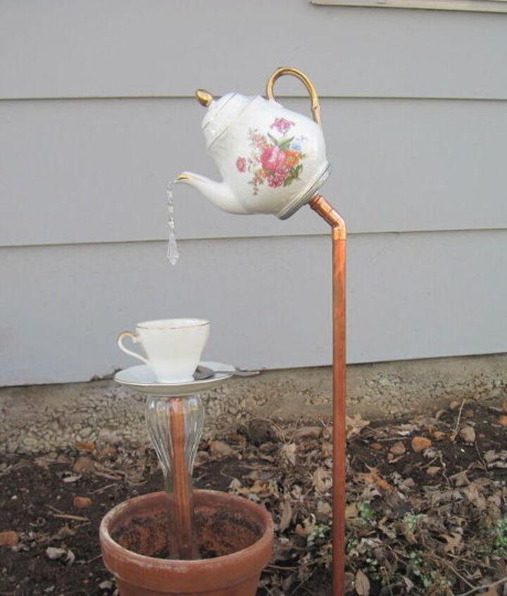 repurposed english tea pot garden, container gardening, gardening, repurposing upcycling