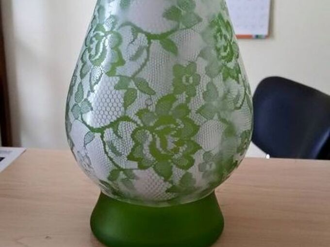 lace vase project, crafts, repurposing upcycling