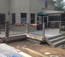 replacing old wooden deck with composite deck, concrete masonry, decks, outdoor living, The new deck is almost finished in this photo