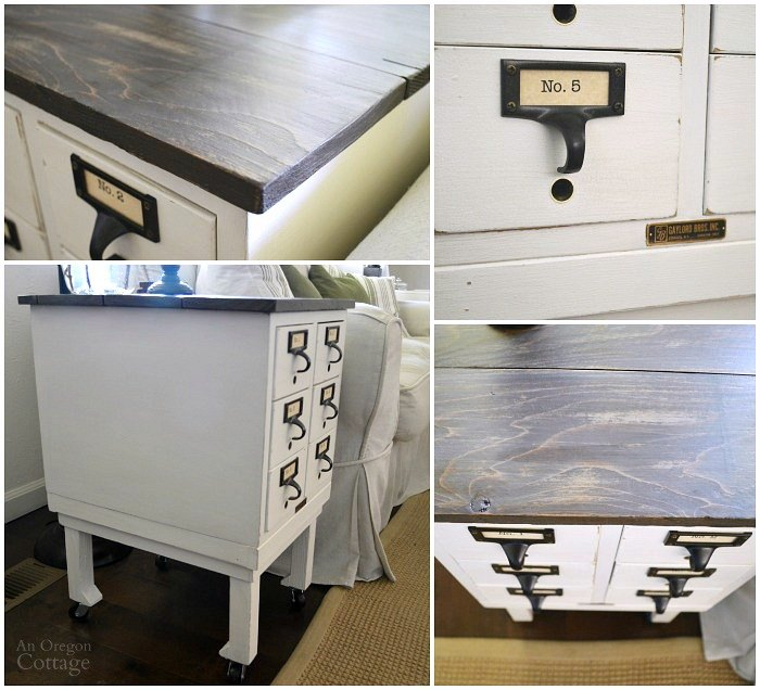 card catalog to side table, diy, how to, painted furniture, repurposing upcycling