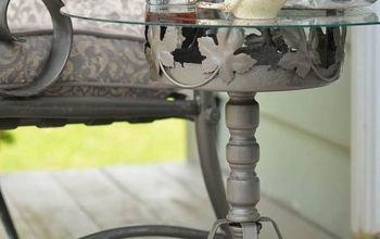 How to Create an Outdoor Accent Table Out of a Rusty Plant Stand